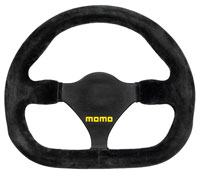 Click for a larger picture of MOMO Model 27 Flat Bottom Steering Wheel, Suede, 270mm