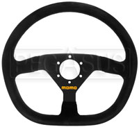 Click for a larger picture of MOMO Model 88 Flat Bottom Steering Wheel, Suede, 350mm