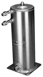 "Click for a larger picture of 2L Fuel Scavenge Tank, 11"" H x 4"" OD, Base Mt, AN Fittings"