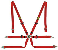 "Click for a larger picture of OMP Sedan 2x2 FIA SL Harness, 2"" Shoulder, 2"" Lap, Pull Down"