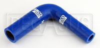 "Click for a larger picture of Blue Silicone Hose, 7/8 x 1/2""  Reducing Elbow"