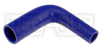 "Click for a larger picture of Blue Silicone Hose, 1 1/2"" x 1.00"" 90 deg. Reducing Elbow"