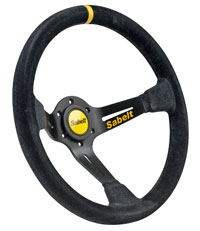 Click for a larger picture of Sabelt 2005X Steering Wheel, Dished, Black Suede, 350mm