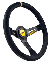 Click for a larger picture of Sabelt 2009X Steering Wheel, Half Dished, Black Suede, 350mm