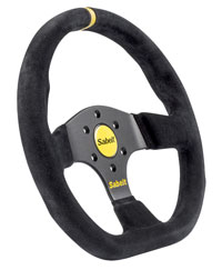 Click for a larger picture of Sabelt 2026X Flat Bottom Steering Wheel, Black Suede, 330mm