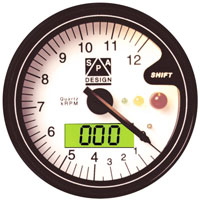 Click for a larger picture of SPA Tach/Temp Gauge, 12k RPM, White Face