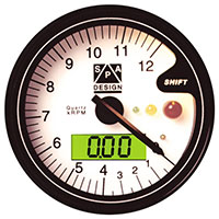 Click for a larger picture of Clearance SPA Tachometer 0-9000 RPM White Dial