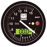 Click for a larger picture of SPA Tachometer 0-15000 RPM Black Dial