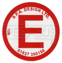 Click for a larger picture of SPA Large Red E Decal for Fire Extinguisher