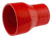 Click for a larger picture of Red Silicone Hose, 3 1/2 x 2 1/2 inch ID Straight Reducer