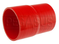 Click for a larger picture of Red Silicone Hose, 3 1/2 x 3 1/4 inch ID Straight Reducer