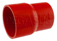 Click for a larger picture of Red Silicone Hose, 3 1/2 x 3.00 inch ID Straight Reducer