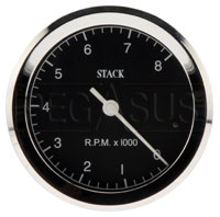 Click for a larger picture of Stack ST200C Classic Tachometer, Black Face