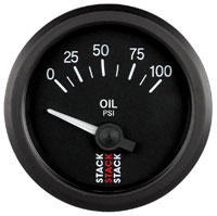 Click for a larger picture of Stack Analog Oil Pressure Gauge, Electric, 0-100 psi