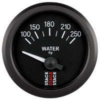 Click for a larger picture of Stack Analog Water Temperature Gauge, Electric, 100-250 F