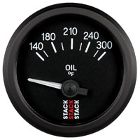 Click for a larger picture of Stack Analog Oil Temperature Gauge, Electric, 140-300 F