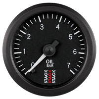 Click for a larger picture of Stack Stepper Analog Oil Pressure Gauge, 0-7 Bar