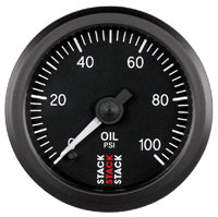 Click for a larger picture of Stack Stepper Analog Oil Pressure Gauge, 0-100 psi