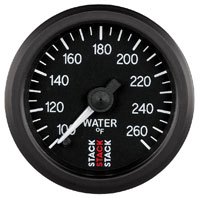 Click for a larger picture of Stack Stepper Analog Water Temperature Gauge, 100-260 F