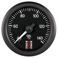 Click for a larger picture of Stack Stepper Analog Oil Temperature Gauge, 40-140 C