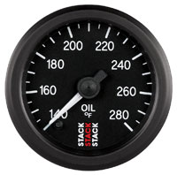 Click for a larger picture of Stack Stepper Analog Oil Temperature Gauge, 140-280 F