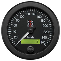 Click for a larger picture of Stack Electric Speedometer, 0-260 km/h, Black Face, 3 3/4""