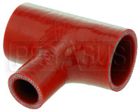 """Click for a larger picture of Red Silicone T-Hose, 45mm (1.75"""") ID w/25mm (1"""") ID Branch"""