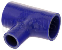"Click for a larger picture of Silicone T-Hose, 45mm (1.75"") ID w/ 25mm (1.00"") ID Branch"