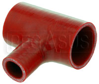"Click for a larger picture of Red Silicone T-Hose, 51mm (2.00"") ID w/25mm (1"") ID Branch"