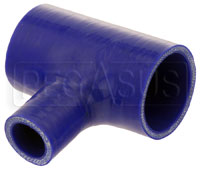 "Click for a larger picture of Blue Silicone T-Hose, 51mm (2.00"") ID w/25mm (1"") ID Branch"