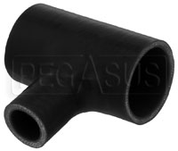 "Click for a larger picture of Black Silicone T-Hose, 51mm (2.00"") ID w/25mm (1"") ID Branch"