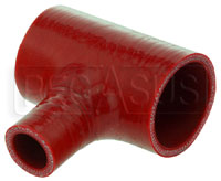 "Click for a larger picture of Red Silicone T-Hose, 54mm (2.13"") ID w/25mm (1"") ID Branch"