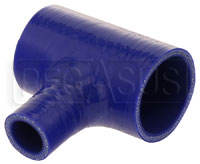 "Click for a larger picture of Blue Silicone T-Hose, 54mm (2.13"") ID w/25mm (1"") ID Branch"