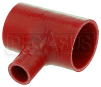 """Click for a larger picture of Red Silicone T-Hose, 60mm (2.38"""") ID w/25mm (1"""") ID Branch"""