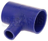 "Click for a larger picture of Blue Silicone T-Hose, 60mm (2.38"") ID w/25mm (1"") ID Branch"