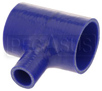 "Click for a larger picture of Blue Silicone T-Hose, 63mm (2.50"") ID w/25mm (1"") ID Branch"