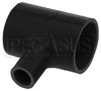 "Click for a larger picture of Black Silicone T-Hose, 63mm (2.50"") ID w/25mm (1"") ID Branch"