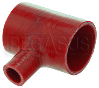 "Click for a larger picture of Red Silicone T-Hose, 70mm (2.75"") ID w/25mm (1"") ID Branch"