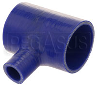 "Click for a larger picture of Blue Silicone T-Hose, 70mm (2.75"") ID w/25mm (1"") ID Branch"