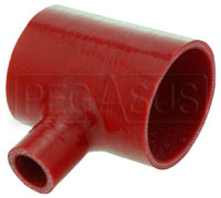 """Click for a larger picture of Red Silicone T-Hose, 76mm (3.00"""") ID w/25mm (1"""") ID Branch"""