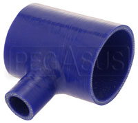 "Click for a larger picture of Blue Silicone T-Hose, 76mm (3.00"") ID w/25mm (1"") ID Branch"