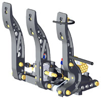 Click for a larger picture of Tilton 3-Pedal Assembly, 77/78-Series, Floor Mount, Aluminum