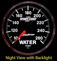 "Click for a larger picture of Sport Comp II 2 1/16"" Water Temp Gauge, 100-260 F, Electric"