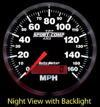 Click for a larger picture of Sport Comp II 3 3/8 inch Speedometer, 160mph, Programmable