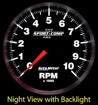 Click for a larger picture of Sport Comp II 3-3/8 inch Tach, 10K In-Dash