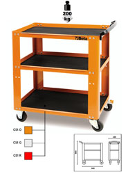 Click for a larger picture of Beta Tools C51-O Easy Trolley 3-Shelf Shop Cart, Orange